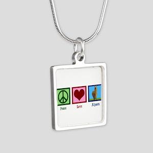 Peace Love Alpacas Silver Square Necklace