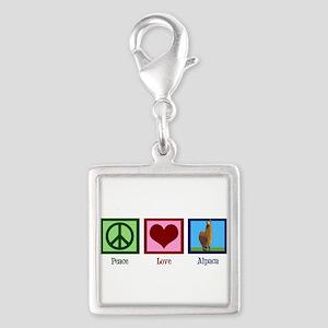 Peace Love Alpacas Silver Square Charm
