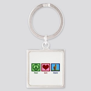 Peace Love Alpacas Square Keychain