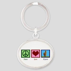 Peace Love Alpacas Oval Keychain