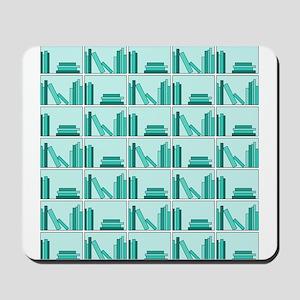 Books on Bookshelf, Teal. Mousepad
