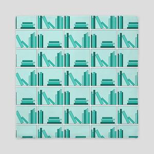 Books on Bookshelf, Teal. Queen Duvet