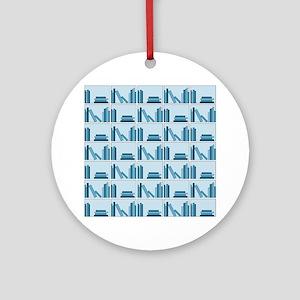 Books on Bookshelf, Blue. Ornament (Round)