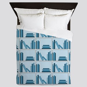 Books on Bookshelf, Blue. Queen Duvet