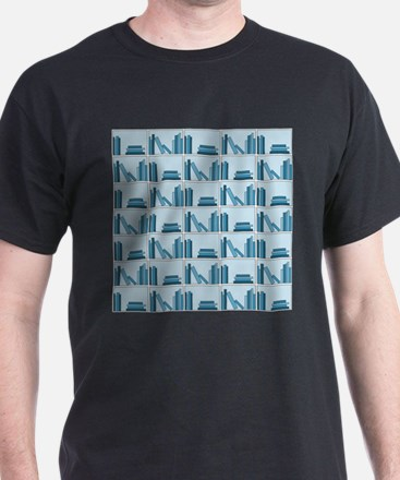 Books on Bookshelf, Blue. T-Shirt