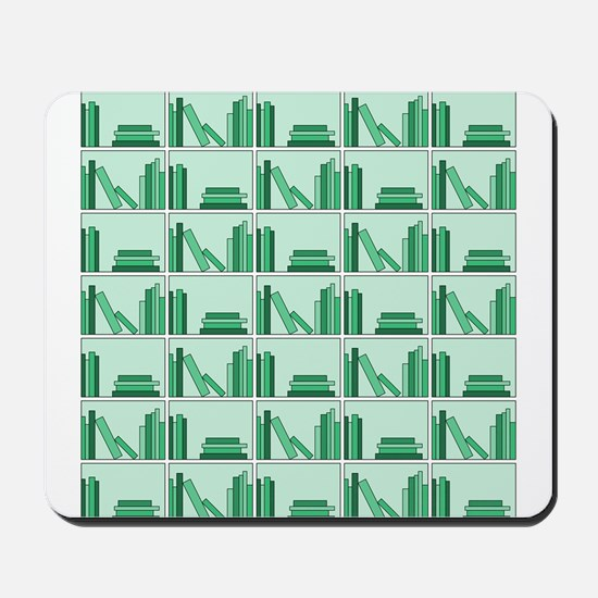 Books on Bookshelf, Green. Mousepad