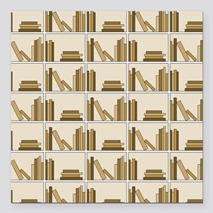 "Books on Bookshelf, Beige. Square Car Magnet 3"" x"