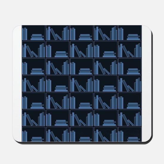 Books on Bookshelf, Blue. Mousepad