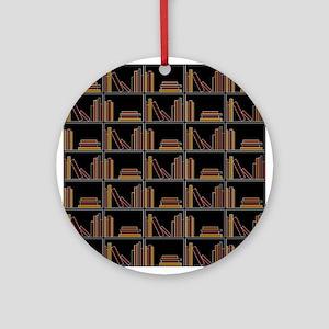 Books on Bookshelf. Ornament (Round)