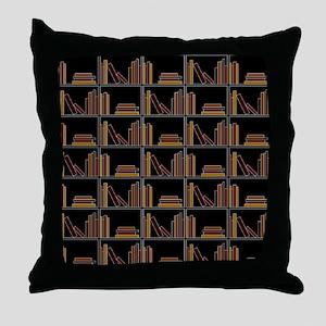 Books on Bookshelf. Throw Pillow