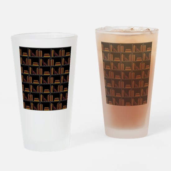 Books on Bookshelf. Drinking Glass