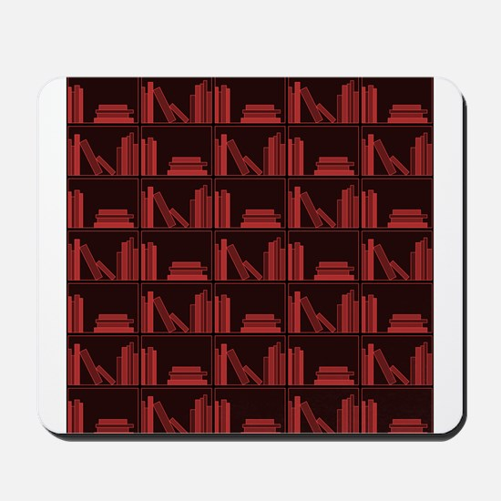 Books on Bookshelf, Dark Red. Mousepad