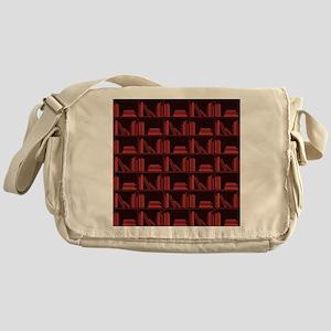 Books on Bookshelf, Dark Red. Messenger Bag