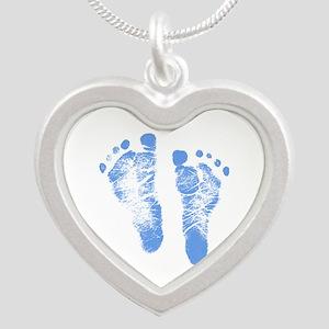 Baby Boy Footprints Silver Heart Necklace
