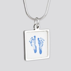 Baby Boy Footprints Silver Square Necklace