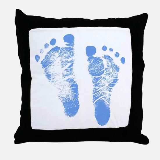Baby Boy Footprints Throw Pillow