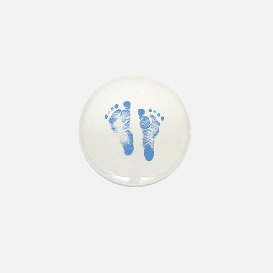 Baby Boy Footprints Mini Button