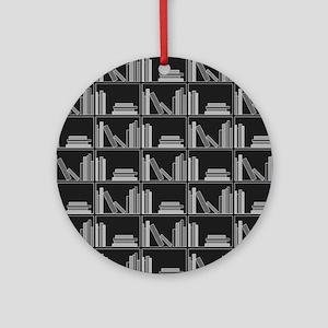 Books on Bookshelf, Gray. Ornament (Round)