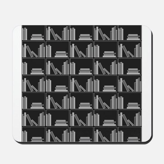 Books on Bookshelf, Gray. Mousepad