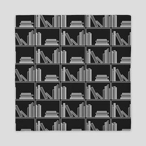Books on Bookshelf, Gray. Queen Duvet