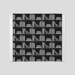 Books on Bookshelf, Gray. Throw Blanket
