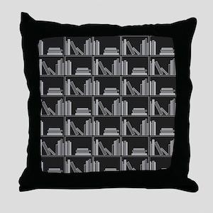 Books on Bookshelf, Gray. Throw Pillow