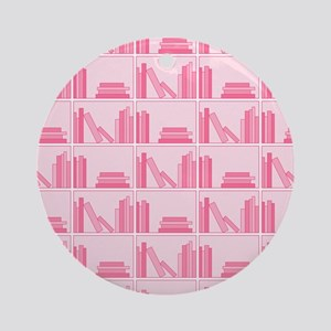 Books on Bookshelf, Pink. Ornament (Round)