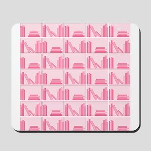 Books on Bookshelf, Pink. Mousepad