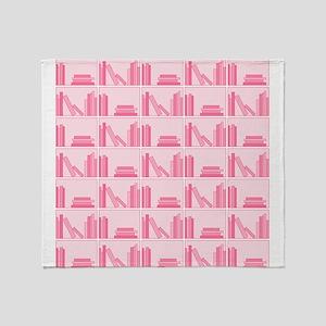 Books on Bookshelf, Pink. Throw Blanket
