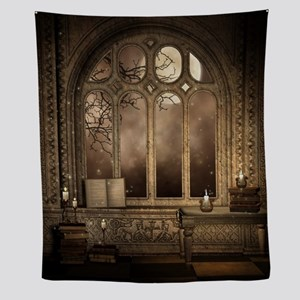 Gothic Library Window Wall Tapestry