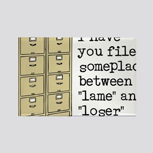 Filed Between Lame And Loser Funny T-Shirt Rectang