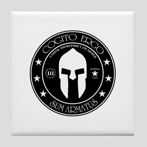 I Think Therefore I Am Armed Tile Coaster