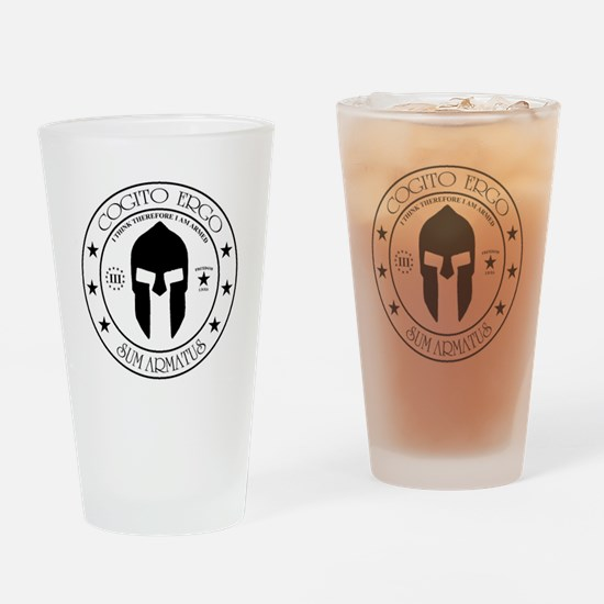I Think Therefore I Am Armed Drinking Glass