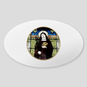 Saint Amelia Stained Glass Window Sticker (Oval)