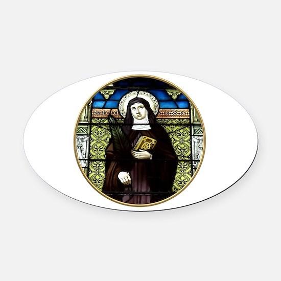 Saint Amelia Stained Glass Window Oval Car Magnet