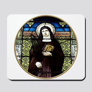 Saint Amelia Stained Glass Window Mousepad