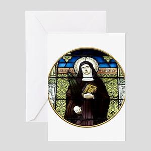 Saint Amelia Stained Glass Window Greeting Card