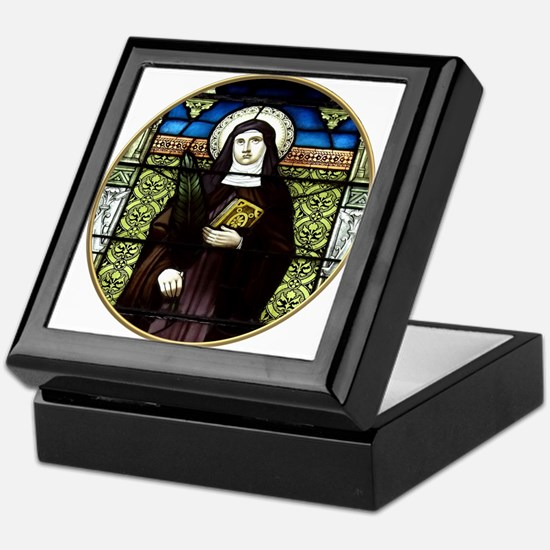 Saint Amelia Stained Glass Window Keepsake Box