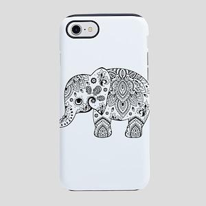 Black Floral Paisley Elephant iPhone 7 Tough Case