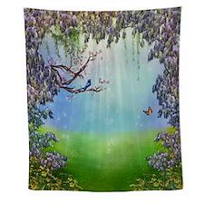 Purple Wisteria Springtime Wall Tapestry