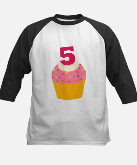 5th Birthday Cupcake Kids Baseball Jersey