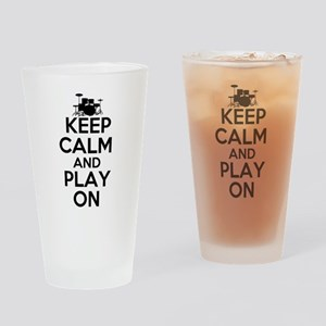 Keep Calm and Play On Drinking Glass