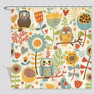 Flowers and Owls Shower Curtain