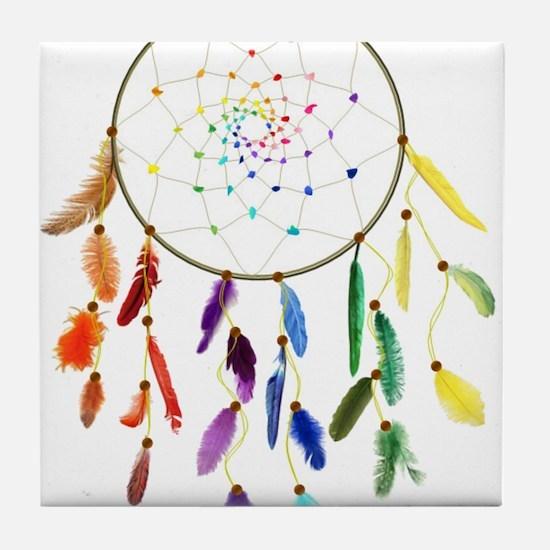 Rainbow DreamCatcher Tile Coaster