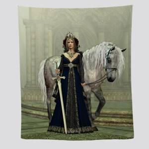 Medieval Lady And Horse Wall Tapestry