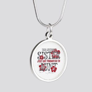 Promoted Aunt Silver Round Necklace