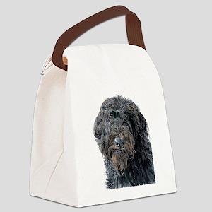 Black Labradoodle Pokey Canvas Lunch Bag