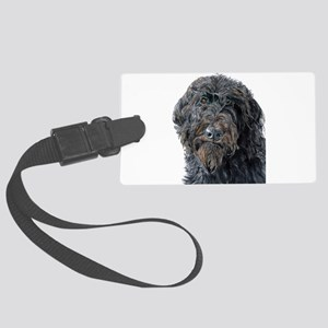 Black Labradoodle Pokey Large Luggage Tag