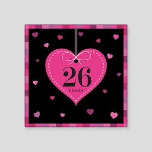 """26th Anniversary Heart Square Sticker 3"""" x 3"""""""