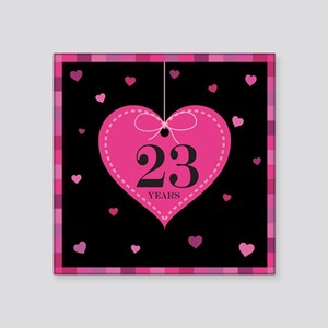 "23rd Anniversary Heart Square Sticker 3"" x 3"""